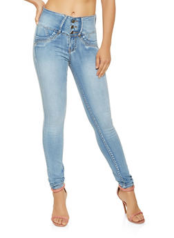 3 Button High Waisted Push Up Jeans - 3074041759622