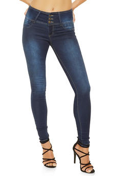 3 Button High Waisted Push Up Jeans - 3074041759723