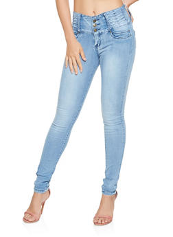 3 Button High Waisted Push Up Jeans - 3074041759741