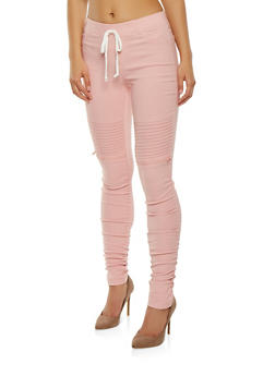 Solid Ruched Moto Jeggings - 3074056570245
