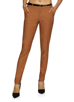 Belted Stretch Skinny Dress Pants - 3074056574081