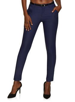 Belted Stretch Skinny Dress Pants - 3074056574081