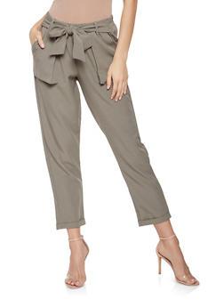 Tie Front Dress Pants - 3074056574088