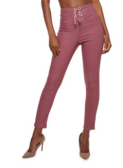 High Waisted Lace Up Pants - 3074056574182