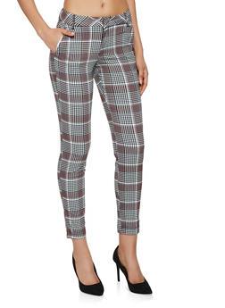 Textured Knit Plaid Dress Pants - 3074056574433