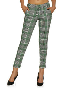 Textured Knit Plaid Dress Pants - 3074056574433