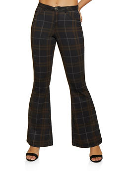 Flared Plaid Pants - 3074056574616