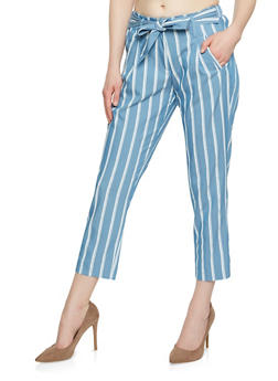 Striped Cropped Pants - 3074056577004