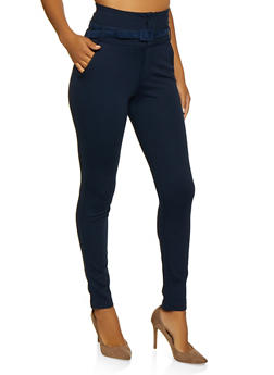 High Waisted Belted Ponte Pants - 3074056579081