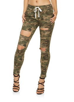 Destroyed Camo Jeggings - 3074062701571