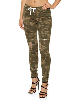 Ruched Camo Moto Jeggings - 3074062705720