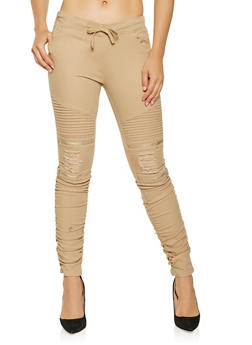 Ruched Moto Joggers - 3074062705730