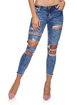 Cello Destroyed Acid Wash Skinny Jeans - 3074063152882