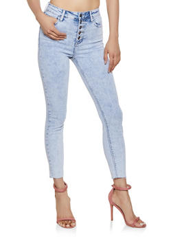 Cello Raw Hem High Waisted Jeans - 3074063153030