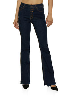 Cello Frayed Hem Flared Jeans - 3074063153604