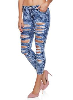 Cello Acid Wash Destruction Jeans - 3074063155252