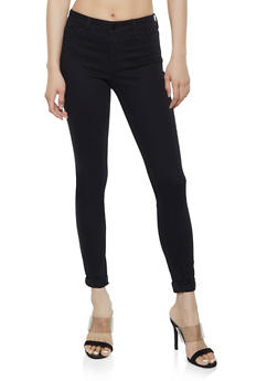 Cello Cuffed Black Skinny Jeans - 3074063156633