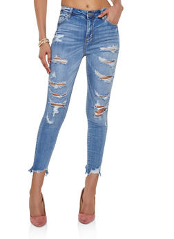 Cello Frayed Hem Ripped Jeans - 3074063157662