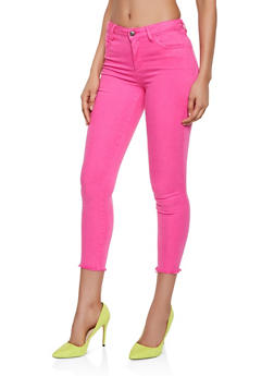 Cello Frayed Hem Jeans | Neon Pink - 3074063159386