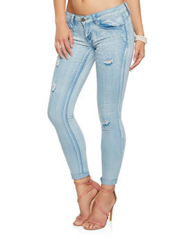 VIP Faux Pearl Embellished Skinny Jeans - 3074065307055