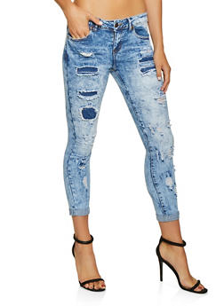 VIP Acid Wash Rip and Repair Jeans - Blue - Size 8 - 3074065307095