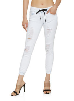 VIP Distressed Denim Joggers - 3074065308034