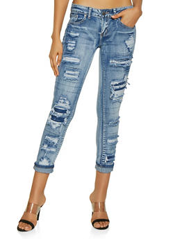 VIP Rip and Repair Skinny Jeans - 3074065309181