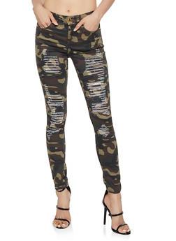 VIP Frayed Camo Skinny Jeans - 3074065309999