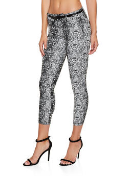 Snake Print Skinny Dress Pants - 3074068191113