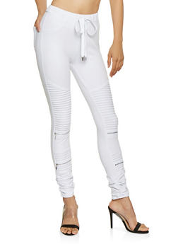 Ruched Ponte Moto Joggers - 3074068193197