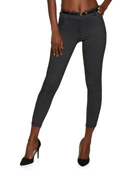 Shinestar Belted Denim Knit Pants - 3074068193334