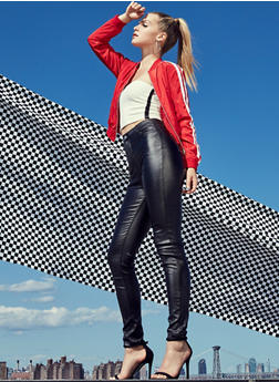 High Waisted Faux Leather Pants - 3074068193349