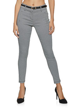 Belted Printed Dress Pants - 3074068193996