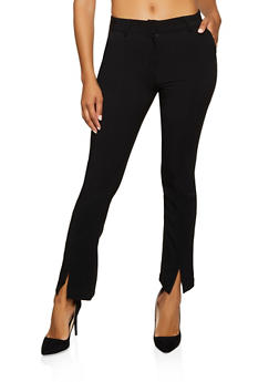 Flared Front Slit Pants - 3074068194163