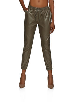 Faux Leather Drawstring Waist Joggers - 3074068196263