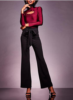 Crepe Knit Tie Waist Flared Pants - 3074068199263