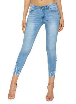 Faux Pearl Embellished Hem Jeans - 3074069390453