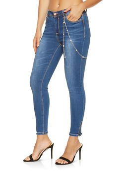 Chain Belt Zip Leg Skinny Jeans - 3074069390460