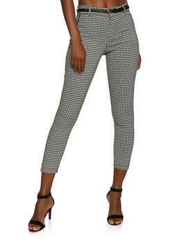 Printed Belted Skinny Dress Pants - 3074069397537