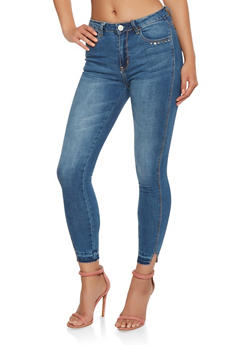 Raw Hem Skinny Jeans - 3074069398677