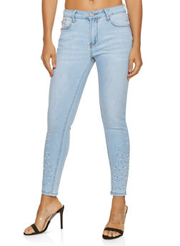 Faux Pearl Studded Skinny Jeans - 3074069398681