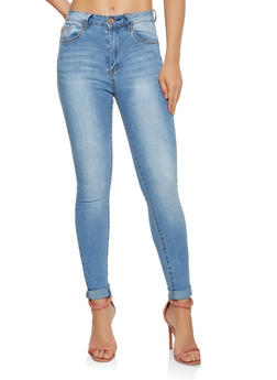 Roll Cuff Push Up Skinny Jeans - 3074069398905