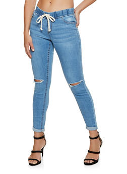 Highway Whiskered Drawstring Waist Jeans - 3074071310123