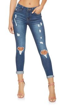 Highway Distressed Skinny Jeans - 3074071311308