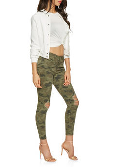 Distressed Camo Skinny Jeans - 3074071311393
