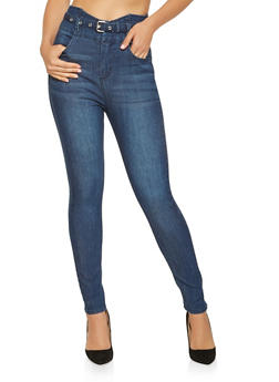 Highway Belted High Waisted Jeans - 3074071311394