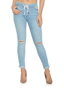 Highway Drawstring Waist Jeans - 3074071319123