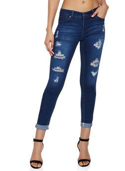 WAX Ripped Roll Cuff Skinny Jeans - 3074071610033