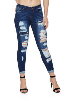 WAX Rip and Repair Skinny Jeans - 3074071610111