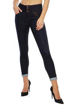 WAX 3 Button Cuffed Skinny Jeans - 3074071610119